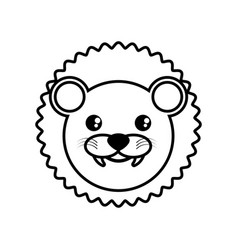 Face lion animal outline vector