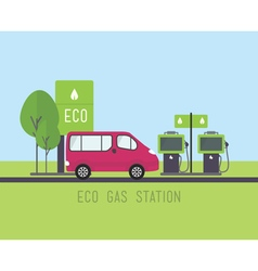 Flat eco design rural landscape with gas station vector
