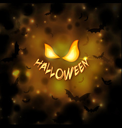 happy halloween background with pumpkin eyes and vector image