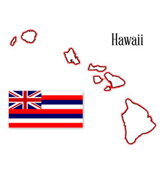 hawaii state map and flag vector image