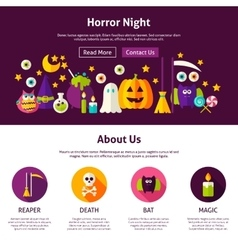 Horror night web design template vector