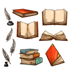 Icons of old books and manuscripts sketch vector