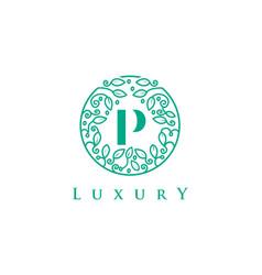 p letter logo luxurybeauty cosmetics logo vector image vector image