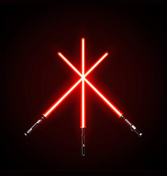 Red crossed light swords isolated on dark vector