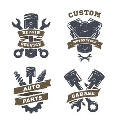 Set of auto logos garage service spare parts vector