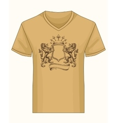 Shirt template with heraldry coat of fame vector
