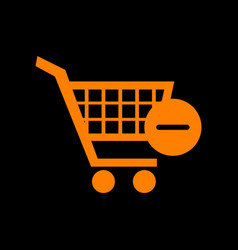 Shopping cart with remove sign orange icon vector