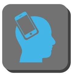 Smartphone head integration rounded square button vector