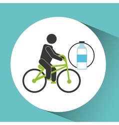Sport man riding bike nutrition health vector