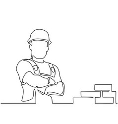 standing builder man holding tablet vector image vector image