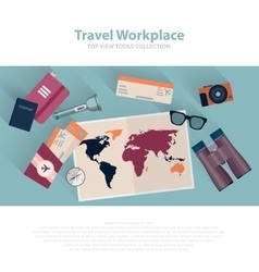 Travel infographic workspace set Concept planning vector image