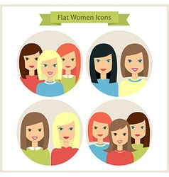 Women Flat Characters Circle Icons Set vector image vector image