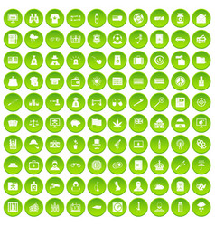 100 police icons set green circle vector