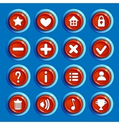 Cartoon red round buttons vector