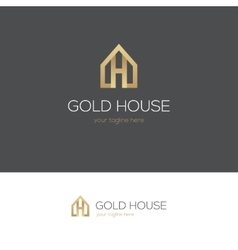 Golden house logo with letter h vector image