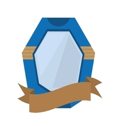 Shield protection emblem blue frame ribbon vector