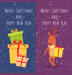 Merry christmas and happy new year deer gifts vector
