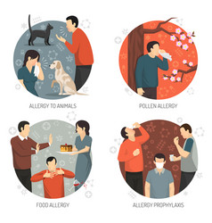 Allergic design icon set vector