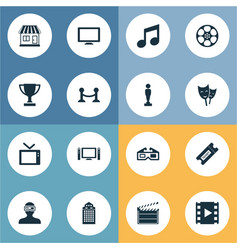 Set of simple film icons vector