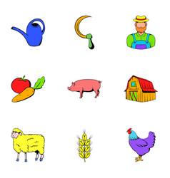 Farmer icons set cartoon style vector