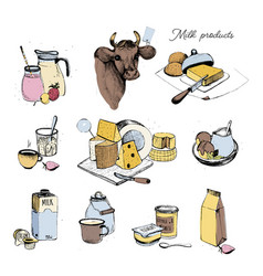 dairy products hand drawn collection set milky vector image