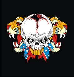 tiger rebel skull vector image