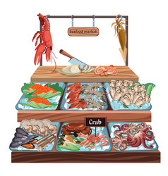 Seafood market concept vector