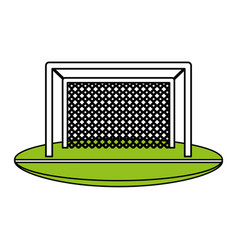 Color silhouette with football goal vector