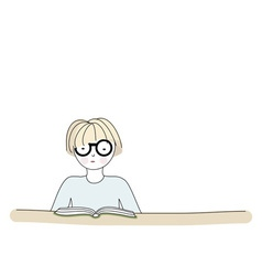 Cartoon character reading a book vector