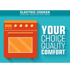 Flat gas stove with the slogan on the background vector