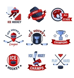 Hockey emblems set vector