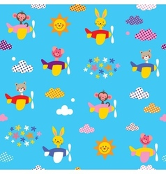 Cute animals in airplanes pattern vector