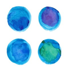 Set of watercolor blue circles vector