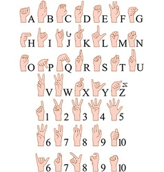 Sign language a to z numbers hands pack vector