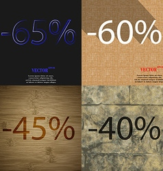 60 45 40 icon set of percent discount on abstract vector
