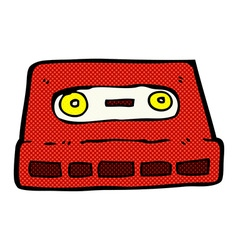 Comic cartoon cassette tape vector