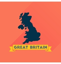 Flat icon with long shadow map of Great Britain vector image