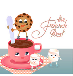A marshmallow a cookie and a coffee cup vector