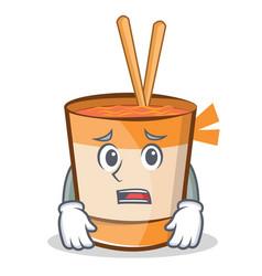 Afraid cup noodles character cartoon vector