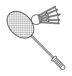 badminton racket shuttlecock sport thin line vector image