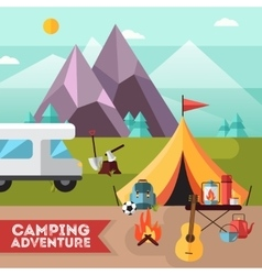 Camping Hiking Adventure Flat Background Poster vector image vector image