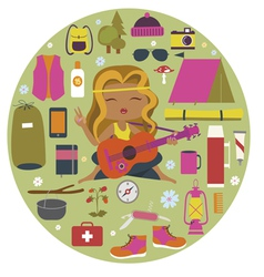 Camping round composition with many details vector