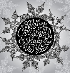 Christmas Greeting Card with hand drawn ornamental vector image