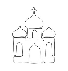 church painted in one line vector image