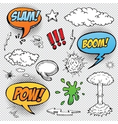 Collection of multicolored hand drawn comic sound vector image vector image