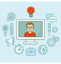 Creative manager - online buisness concept with ic vector