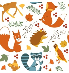 Cute woodland animals pattern vector