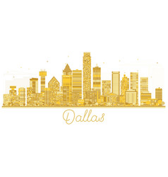 dallas usa city skyline golden silhouette vector image