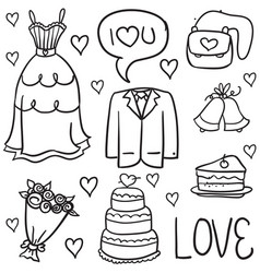 Doodle of wedding object vector