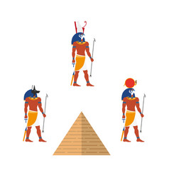 Egypt pyramid and ancient gods - ra anubis isis vector